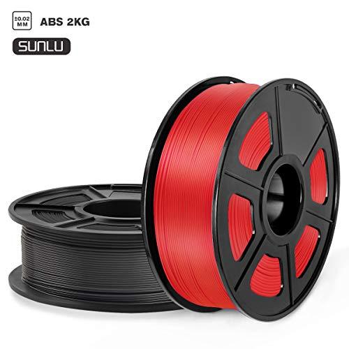 SUNLU Filamento ABS 1.75mm 2kg Impresora 3D Filamento, Precisión Dimensional +/- 0.02 mm, ABS Negro + rojo