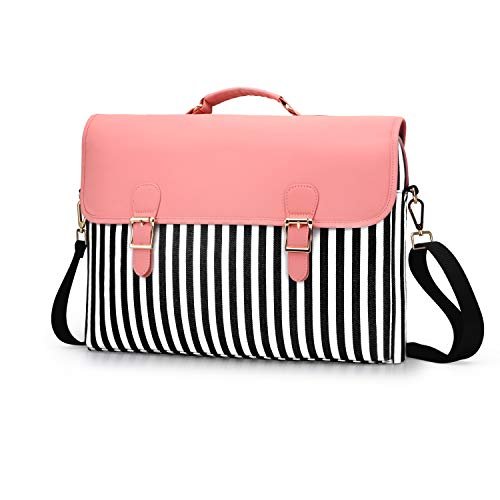 Pink Cute Laptop Bag 15.6 inch for Women PU Leather Shoulder Messenger Computer Case