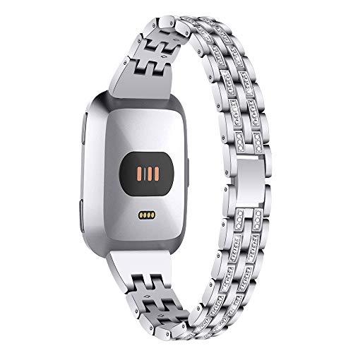 Aottom Compatibel voor Fitbit Versa Band voor Vrouwen Meisjes Metalen Strass Diamant Sieraden Stijlvolle Armband Polsband Smart Horloge Vervangende Band voor Fitbit Versa/Versa Lite/Versa Special Edition ZILVER