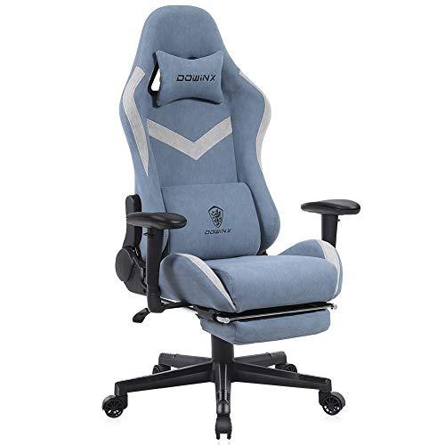 Dowinx Gaming Stuhl Bürostuhl mit Massage-Lendenwirbelstütze, atmungsaktiver Stoff hohe Rückenlehne Verstellbarer Drehstuhl mit Fußstütze Blau