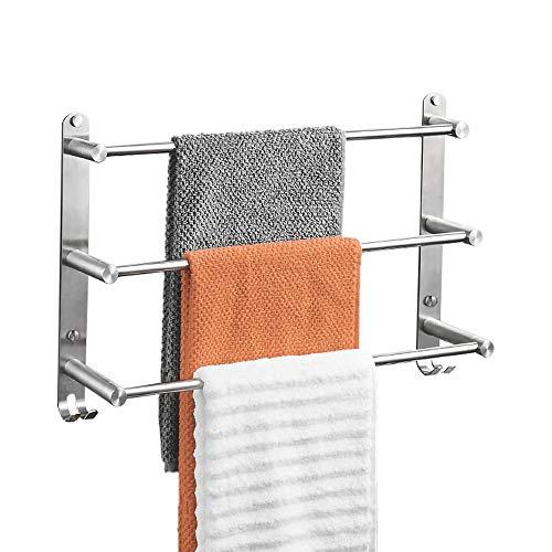 Handtuchhalter, 304 Edelstahl Gebürstet Handtuchstange, 60 cm Wand Badetuchhalter, Badezimmer Handtuchstange mit Regal 3 Stangen, Handtuchhaltern mit Doppelhaken für Badezimmer Küchen Toilette