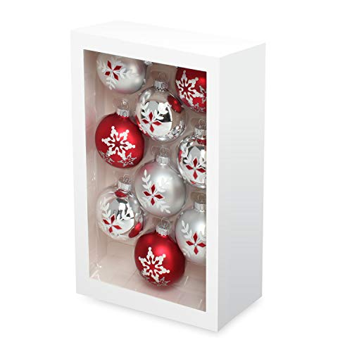 Costyleen Christmas Decoration Colorful Glass Balls Ornaments Set Festival Home Party Decors Xmas Tree Hanging Pendant Snowflake Leaf Patterns 9pc Red Silver Printings 2.7in