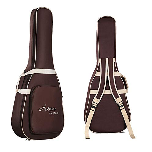 MANATSULIFE アコースティックギター用 ギター ケース ギグバッグ クッション付き 2WAY リュック型 手提げ (ブラウン)
