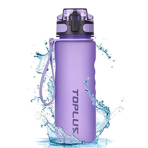 TOPLUS Sport Trinkflasche Auslaufsicher Tragbare Sportflasche aus Kunststoff Wasserflasche Fahrradflasche für Kinder,Fahrrad, Schule,Camping Freien,Outdoor,Gym [BPA Frei Tritan] (Lila, 500ML)