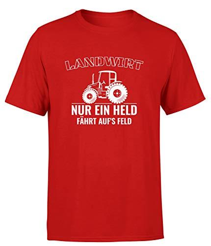 Landwirt Nur EIN Held fährt aufs Feld! T-Shirt Herren, Farbe: Rot, Größe: Small