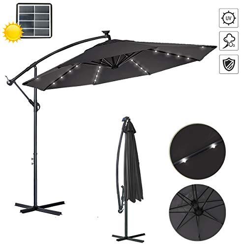 Aufun Alu Sonnenschirme 300cm mit Solarbetriebene Weiß LED UV Schutz 40+ - Dunkelgrau balkonschirm gartenschirm höhenverstellbarer (Dunkelgrau mit solar LED)