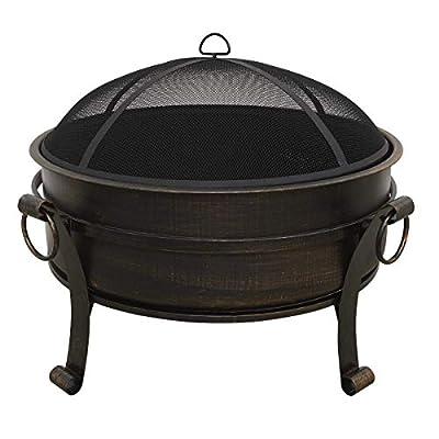 "Dellonda 30"" Deluxe 2-in-1 Outdoor Fire Pit/Coffee Table/Garden Patio Heater - Antique Bronze Effect from Dellonda"