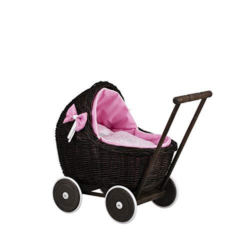 e-wicker24 Spielzeug aus Weide, Puppenwagen aus Weide, Korbpuppenwagen Dunkelbraun