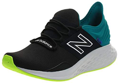 New Balance Men's Fresh Foam Roav V1 Sneaker, Black/Team Teal, 10.5