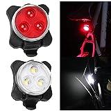 COB Grano de la lámpara 160LM de Carga USB de Cuatro velocidades Bicicleta Impermeable Trasera de la Linterna Set /, Red + White Light 650mA