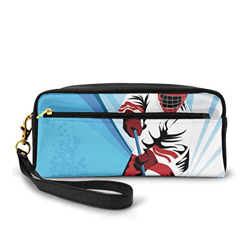Pencil Case Pen Bag Pouch Stationary,Hockey Player Makes A Strong Shot On Goal Rival Illustration Abstract Backdrop,Small Makeup Bag Coin Purse