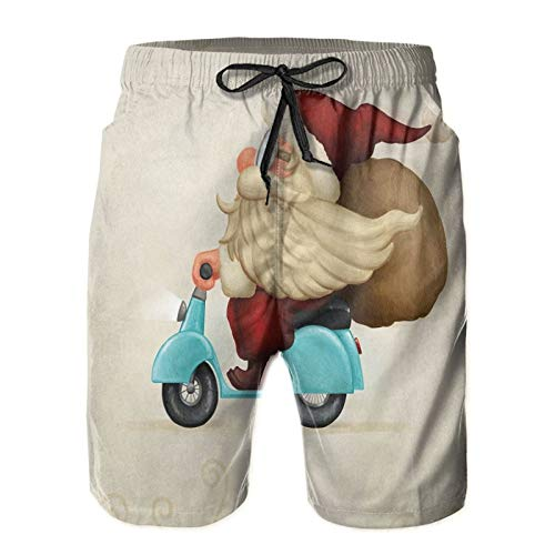 Quick Dry Board Shorts Old Santa Claus Delivering Presents On His Motorcycle Swirled Lines Frame Casual Home Wear Mens Large
