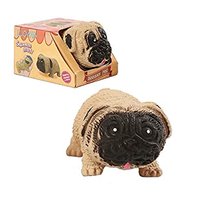 LUOWAN Fidget Sensory Stress Pug Toys Sets for Children Adults Teens Kids, Squishy Squeeze Anxiety Relief Stress Toy ,Hand Toys for Anxiety Calming for ADHD Autism Anxiety Best Gifts (Brown)