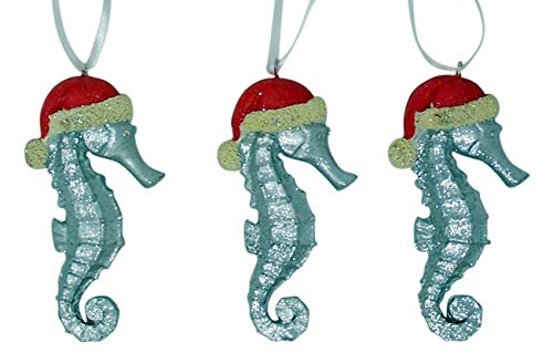 Wowser Cast Resin Silver-Tone Glittery Seahorse with Santa Hat Christmas Tree Ornament, Set of 3, 4 1/2 Inch