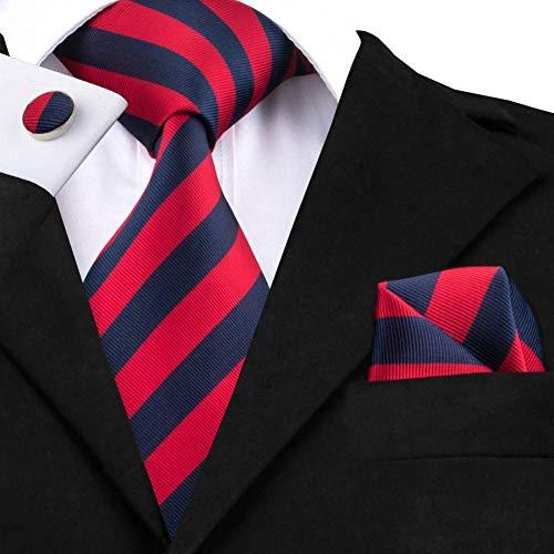 WOXHY Cravate pour Homme Mode Rouge et Noir Cravates Rayées pour Hommes Cravates en Soie Coffret Cadeau pour Hommes Accessoires De Cravate Hanky Boutons De Manchette Ensemble Ht-1575