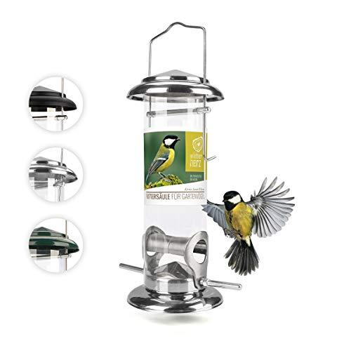 corazón animal salvaje I Comedero para pájaros de 23,5 cm, de acero inoxidable, comedero para pájaros, columna de alimentación, silo, plateado