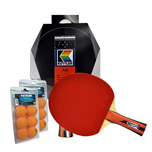 Lowest Price! Kettler Ace Indoor Table Tennis Bundle: 2 Player Set (2 Rackets/Paddles & 12 Balls)