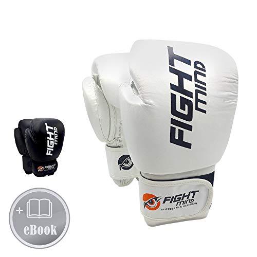 Fight Mind Boxhandschuhe/Leder/Leicht und robust/für das tägliche Training geeignet (Weiß 10 Oz)