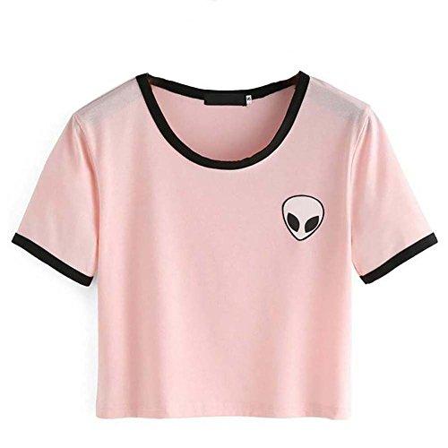 Crop Top Blusa, Tukistore Mujer Camiseta Manga Corta
