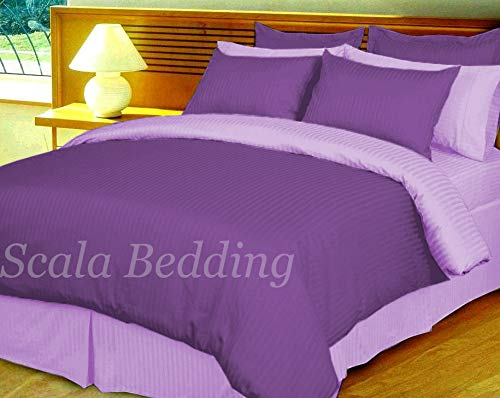 Bedding Attire 3 Stuk Streep Omkeerbare Dekbedovertrek Set Egyptisch Katoen 600 TC UK Super King Size en Paars/Lavendel Kleur