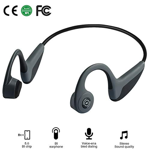 Bone Conduction Headphones - Wireless Earbuds Bluetooth 5.0 Upgraded IP56 Waterproof Sports Bluetooth Earphones w/Mic HD Stereo Sweatproof Premium Sound with Deep Bass for Sport,Lightweight-1.2 oz