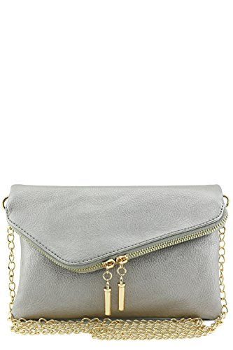 Envelope Wristlet Clutch Crossbody Bag with Chain Strap (Light Pewter)