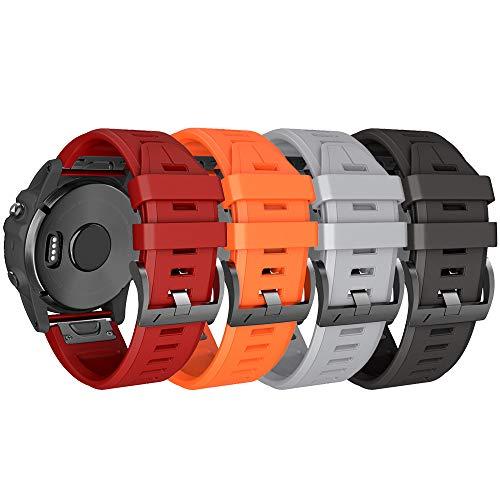 NotoCity Compatível com Garmin Fenix 5X Plus Bands Silicone Esportivo Substituição para Garmin Fenix 5X/Fenix 5X Plus/Fenix 6X/Fenix 6X Pro/Fenix 3/Fenix 3 HR/Descent MK1/D2 Delta PX/D2 Charlie, 4pcs