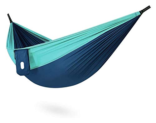 WERTYG Camping Hammock, Lightweight Nylon Portable Hammock, For Backpacking Travel Beach Yard For Garden Yard Camping (Size:270 X 140cm; Color:Blue) (Color : Blue, Size : 270 X 140cm)
