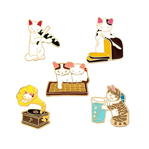 2-7Pcs/Set Funny Enamel Brooch Cartoon Cat Pink Game Console Car Earth Pins Cute Pills Band-Aid Letter Sign Lapel Badges Jewelry-Cats,China