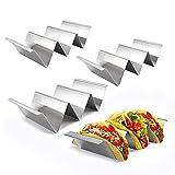 HnF Taco Soportes, 4 Paquetes de Acero Inoxidable Taco Stand Rack Bandeja, Caja Fuerte para Hornear, lavavajillas y Parrilla Segura