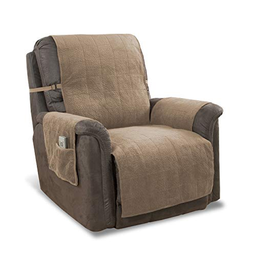 Link Shades Anti-Slip Heavy Duty Recliner Armchair Protector   Water Resistant Microsuede Slipcover   Stay-Put Straps   Cover Protects from Dogs & Other Pets (Recliner, up to 23' seat, Natural)