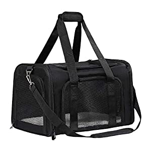 Nooyi Cat Carriers Dog Carrier Puppy Carrier, Airline Approved Pet Carriers, Soft Sided Collapsible Pet Travel Carrier for Small Medium Cats Small Dogs of 15Lbs Black Gery
