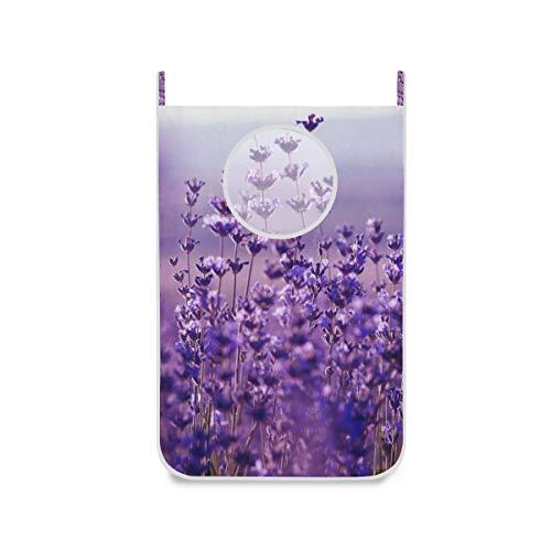 XiangHeFu deur-hangende grote wasmand, uitklapbare lavendel-bloemen-stoffen zak mand