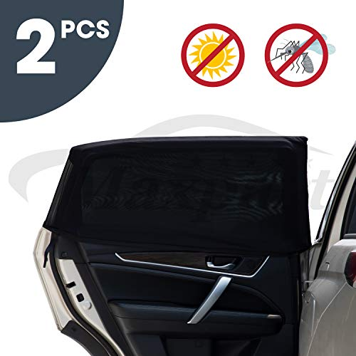 TWING Car Window Sun Shade Breathable Mesh Car Rear Side Window Shade Sun Visor Protector Blocks 99% UV Rays Keeps Your Vehicle Cool Car Mosquito Net Curtains for Most Sedans SUV Truck (Universal Fit)