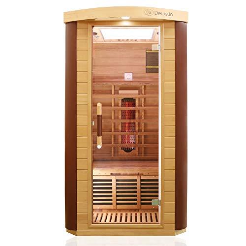 Dewello Infrarotkabine TORONTO 102x102 für 1 Person aus Hemlock & Zedernholz mit stufenlos regelbaren Vollspektrumstrahlern