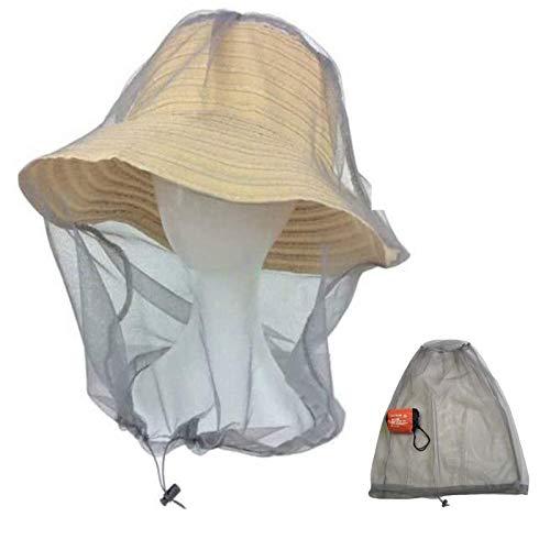 蚊よけ 虫よけ 防虫ネット ヘッドネット メッシュ カバー モスキート 虫除けヘッドカバー フェイスガード 帽子の上から被るタイプ 紫外線対策 フリーサイズ アウトドア キャンプ ガーデニング 農作業 釣り 登山 園芸 Mosquito Head Net