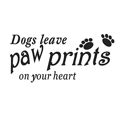 Leeg 13.7CM*6.5CM Honden Laat Paw Prints op je Hart Vinyl Auto Sticker Auto Styling Zwart/Sliver Zwart