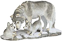 StealStreet SS-G-54274 Grey White Wolf Playing with Pups Figurines