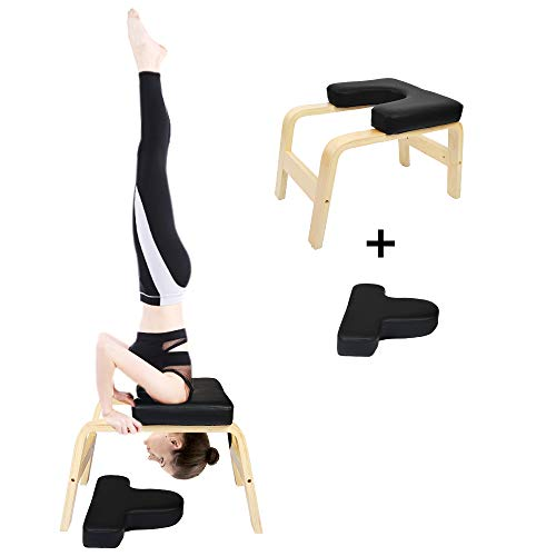 Cchainway C-Chain Balanced Yoga Headstand Bench - Ideal for Workout, Fitness and Gym Perfect for Both Beginner and Experience Yogis - Wood and PU Pads - Relieve Fatigue and Build Up Body (Black)