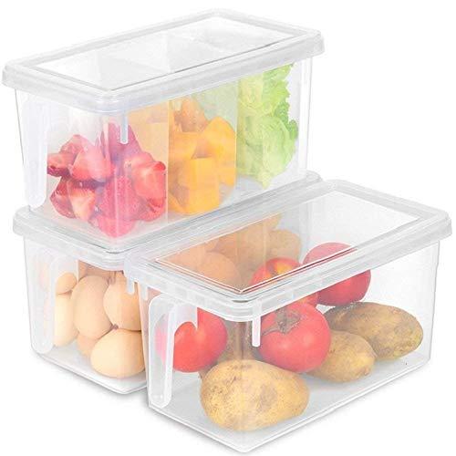 MineSpace Lot de 4 boîtes de rangement en plastique avec poignées carrées et couvercles pour réfrigérateur ou armoire de bureau