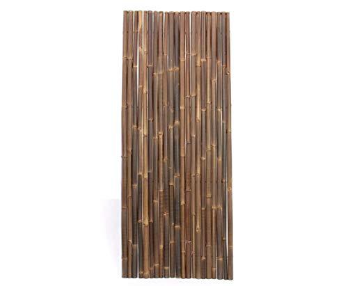 Bambuszäune braun schwarz 100x250cm, Wulung Stangen mit 4-6cm - Sichtschutzzaun aus Bambus
