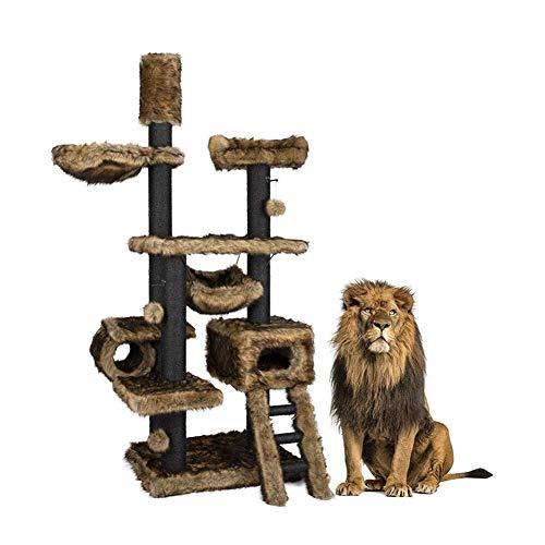 ZY Kratzmöbel Kratzbaum Turm Cat Klettergerüst Massivholz Große Katze Villa Cat Nest Integrated Sky Pillar Geeignet for den Innenbereich Kratzbaum Kratz LOLDF1