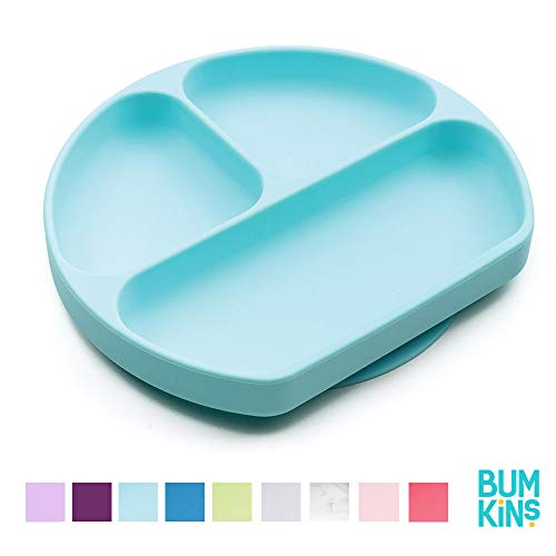 Bumkins Silicone Grip Dish, Suction Plate, Divided Plate, Baby Toddler Plate, BPA Free, Microwave Dishwasher Safe - Blue