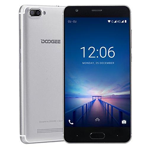 Smartphone Libre, DOOGEE X20L Moviles Baratos 4G, Pantalla de 5 Pulgadas HD IPS - 2 GB de RAM - 16 GB - MT6737 Quad Core Android 7.0 - Cámara Trasera Doble de 5 MP - Telefonos Moviles Dual SIM - Plata