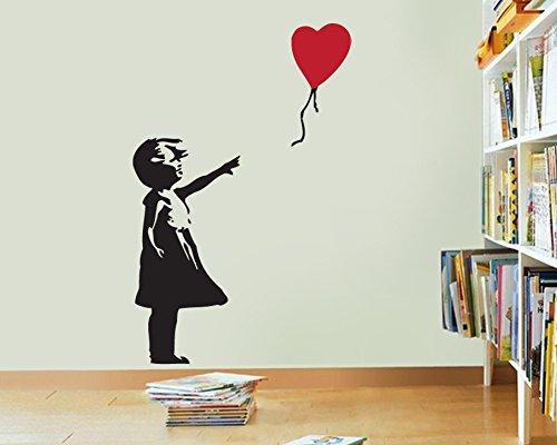 FoundaryWallArt Banksy Wand Aufkleber–Mädchen mit Ballon Herz Wand Aufkleber, Banksy Aufkleber–Banksy Vinyl Wand Kunst Aufkleber