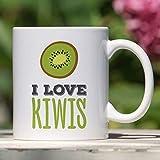 Taza de kiwi Amo el regalo de kiwis para una taza de fruta vegetariana o vegana Taza única de kiwi Lindo regalo de kiwi