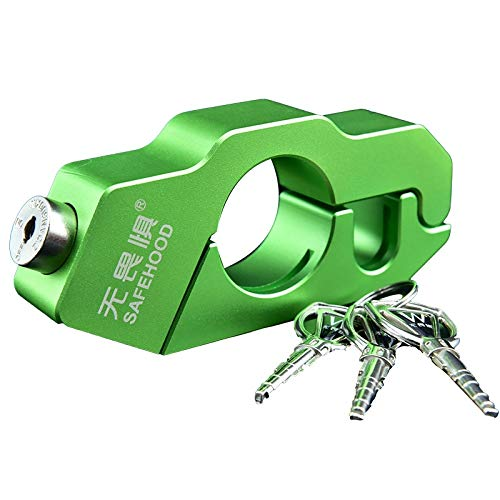 XIAO-XIN Motorcycle Grip Lock CNC Security Safety Locks Handlebar Handset Brake Lever Disc Locking Fit Scooter ATV (Color : Green)