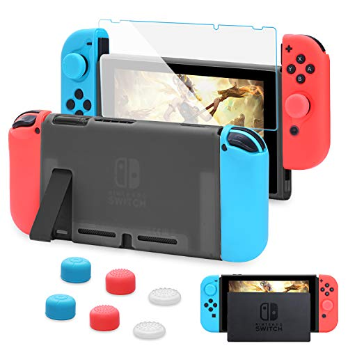 HEYSTOP Custodia per Nintendo Switch, Cover Protettiva Nero e Switch Pellicola Protettiva Utilizzabile nel Dock con 6 Copri Analogico(Nero)