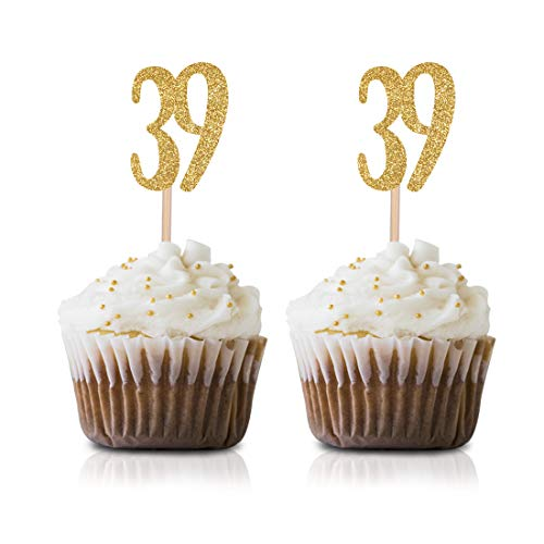 Gold Happy 39th Birthday Cupcake Topper, 24-Pack Number 39 Glitter Birthday Party Cupcake Toppers, Decorations