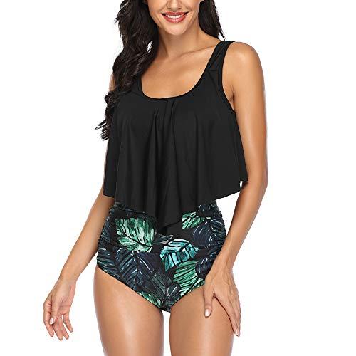 Occffy Costumi da Bagno Donna Due Pezzi a Balze Vintage Top a Vita Alta Stampa Bottom Bikini Tankini Sets Costumi da Mare Donna CH55 (Nero/Foglia, XL)